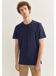 Springfield Basic Short Sleeve Round Neck T-Shirt for Men, Small, Medium Blue
