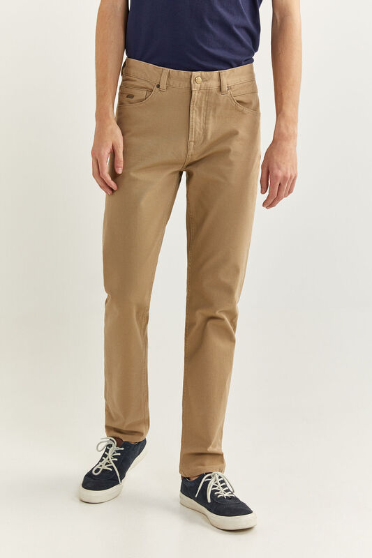 Springfield Zero Gravity 5-Pocket Bi-Stretch Trousers for Men, 34 EU, Beige