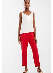 Springfield Cotton Fancy Pant for Women, 40 EU, Red