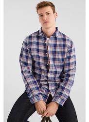 Springfield Long Sleeve Linen Shirt for Men, Extra Large, Medium Blue