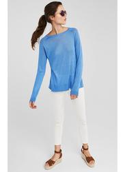 Springfield Long Sleeve Round Neck Knit Sweatshirt for Women, Medium, Medium Blue