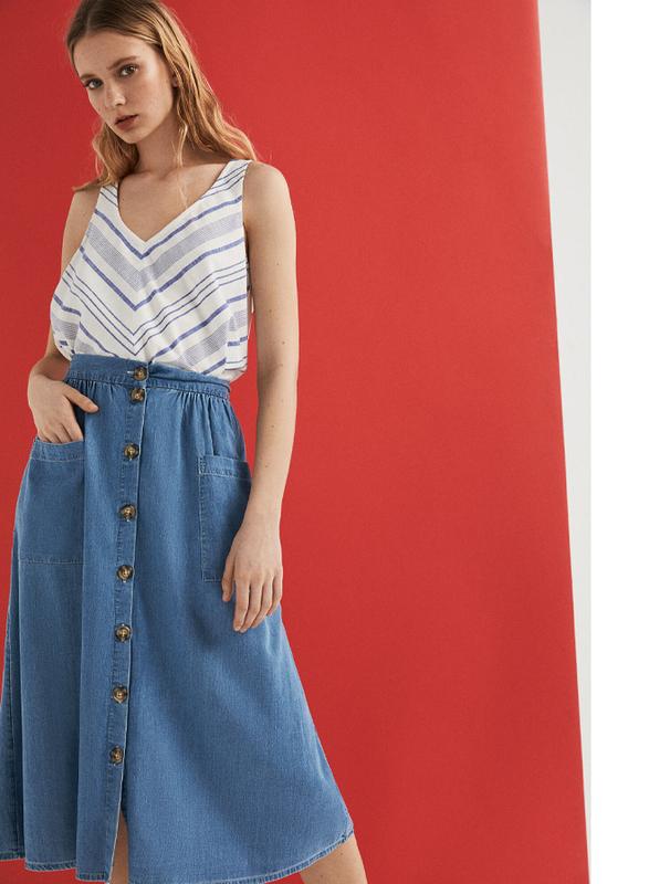 Springfield Denim Midi Skirt, Large, Medium Blue