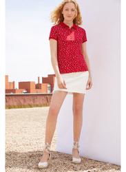 Springfield Short Sleeve Collared Top T-Shirt for Women, Medium, Wine