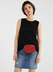 Springfield Fancy Sleeveless T-Shirt for Women, Extra Small, Black
