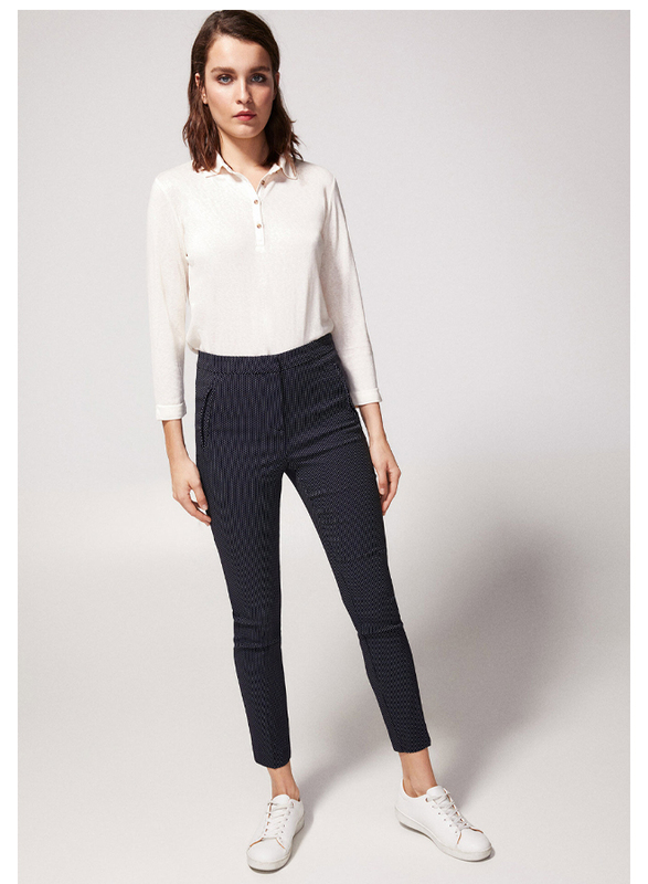 Springfield Cotton All Over Print Fancy Pant for Women, 36 EU, Light Blue