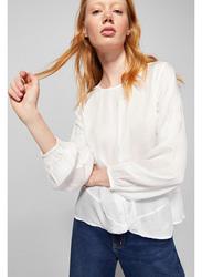 Springfield Long Sleeve Plain Blouse for Women, 38 EU, White