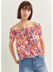 Springfield Fancy Off Shoulder T-Shirt for Women, Medium, Orange