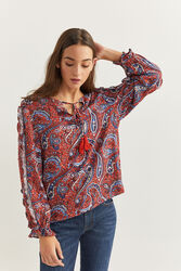 Springfield Flounced Sleeve Printed Blouse for Women, 40 EU, Orange