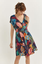 Springfield Short Sleeve Tropical Printed Dress, Extra Large, Navy Blue
