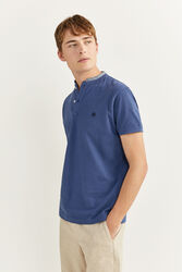 Springfield Short Sleeve Slim Fit Chambray Mandarin Collar Embroidered Logo Polo Shirt for Men, Small, Blue
