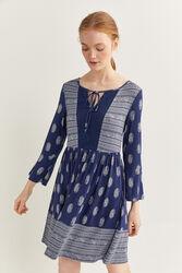 Springfield Long Sleeve Printed Short Dress, Large, Navy Blue