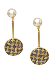 Dori 18K Gold Plated Drop Earrings for Women, with Pearl and Zardosi Stones, Gold