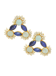 Dori 18K Gold Plated Stud Earrings for Women, with Lapis, Amazonite and Pearl Stones, Gold