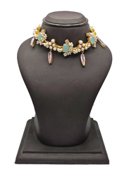 Dori 18K Gold Plated Collar Necklace for Women, with Multistone, Gold/Multicolor