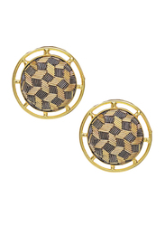 Dori 18K Gold Plated Stud Earrings for Women, with Zardosi Embroidery Stone, Gold