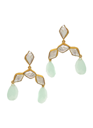 Dori 18K Gold Plated Drop Earrings for Women, with Chalcedony and Baroque Pearl Stones, Gold