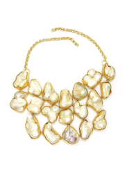 Dori 18K Gold Plated Statement Necklace for Women, with Baroque Pearls, Gold/White