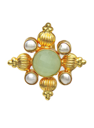 Dori 18K Gold Plated Statement Ring for Women, with Chalcedony Stone and Pearl, Green/White
