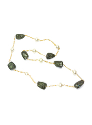 Dori 18K Gold Plated Chain Necklace for Women, with Labradorite Stone and Pearls, Gold/Green