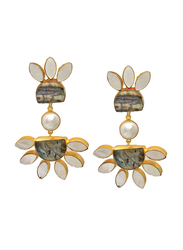 Dori 18K Gold Plated Drop Earrings for Women, with Labradorite, Pearl and Mother of Pearl Stones, Gold