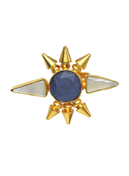 Dori 18K Gold Plated Fashion Ring for Women, with Monalisa Stone and Mother of Pearl, Blue/White