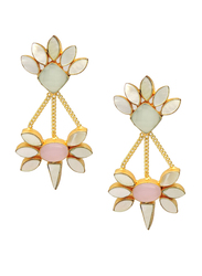 Dori 18K Gold Plated Drop Earrings for Women, with Chalcedony, Rose Quartz and Mother of Pearl Stones, Gold