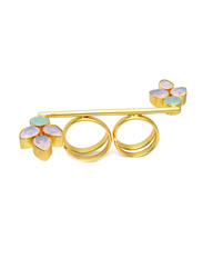 Dori 18K Gold Plated Fashion Ring for Women, with Crystal Stone and Aqua Stone, Blue/Pink