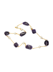 Dori 18K Gold Plated Chain Necklace for Women, with Amethyst Stone and Pearls, Gold/Purple