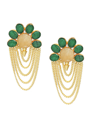 Dori 18K Gold Plated Drop Earrings for Women, with Citrine and Emerald Stones, Gold