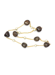 Dori 18K Gold Plated Chain Necklace for Women, with Smoky Quartz Stone and Pearls, Gold/Black
