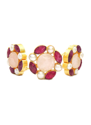 Dori 18K Gold Plated Magnificent Necklace for Women, with Ruby Stone, Raw Rose Quartz Stone and Pearls, Gold/Multicolor