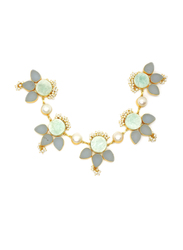 Dori 18K Gold Plated Statement Necklace for Women, with Multistone, Gold/Green