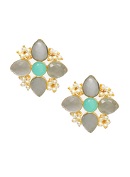 Dori 18K Gold Plated Stud Earrings for Women, with Monalisa, Aqua and Pearl Stones, Gold