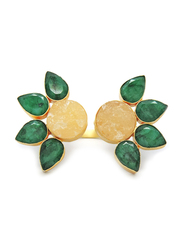 Dori 18K Gold Plated Fashion Ring for Women, with Emerald Stone and Citrine Stone, Yellow/Green