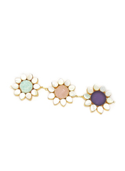 Dori 18K Gold Plated Magnificent Necklace for Women, with Raw Stones and Mother of Pearl, Gold/Multicolor