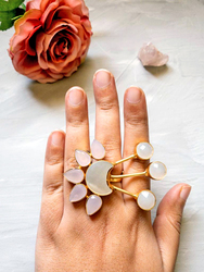 Dori 18K Gold Plated Fashion Ring for Women, with Rose Quartz Stone, Moonstone Stone and Mother of Pearl, White/Pink