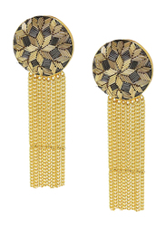 Dori 18K Gold Plated Drop Earrings for Women, with Zardosi Embroidery Stone, Gold