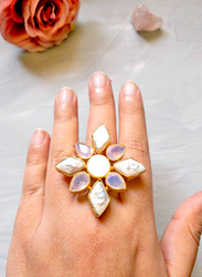 Dori 18K Gold Plated Fashion Ring for Women, with Crystal Stone and Baroque Pearls, White