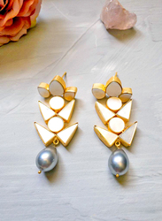Dori 18K Gold Plated Drop Earrings for Women, with Pearl and Mother of Pearl Stones, Gold