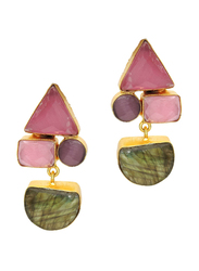 Dori 18K Gold Plated Drop Earrings for Women, with Labradorite and Monalisa Stones, Gold