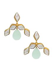 Dori 18K Gold Plated Stud Earrings for Women, with Chalcedony and Baroque Pearl Stones, Gold