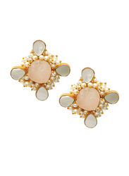 Dori 18K Gold Plated Stud Earrings for Women, with Raw Rose Quartz, Pearl and Mother of Pearl Stones, Gold