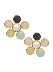 Dori 18K Gold Plated Stud Earrings for Women, with Obsidian, Raw Rose Quartz, Citrine, Green Fluoride, Amazonite and Pearl Stones, Gold/Maroon