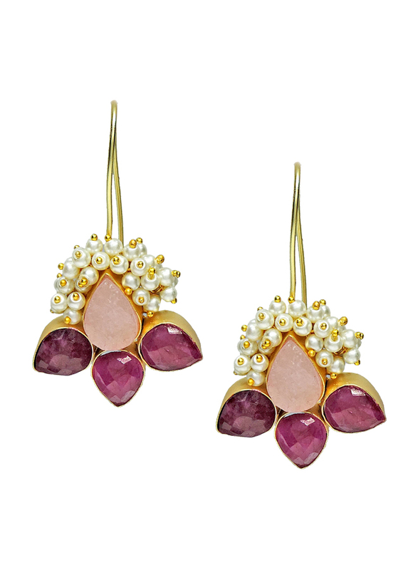 Dori 18K Gold Plated Hoop Earrings for Women, with Ruby, Rose Quartz and Pearl Stones, Gold