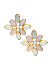 Dori 18K Gold Plated Stud Earrings for Women, with Moonstone, Pearl and Rose Quartz Stones, Gold