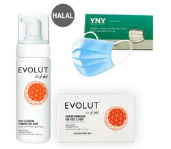 Evolut - Acne Solution, 2 pieces Kit (Soap, Foam)+ (FREE) 50 PIECES DISPOSABLE 3 PLY FACE MASK
