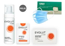 Evolut - Family 3 pieces Kit (Foam, Soap, 3 Sanitizers)+ (FREE) 50 PIECES DISPOSABLE 3 PLY FACE MASK
