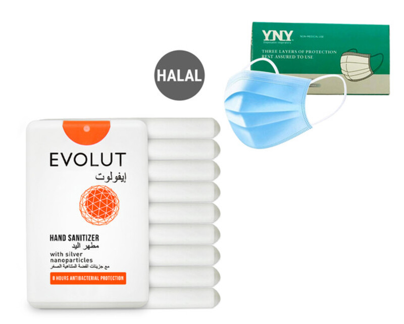 Evolut - Protection For Every Day, Kit (10 Sanitizers) + 50 PIECES DISPOSABLE 3 PLY FACE MASK