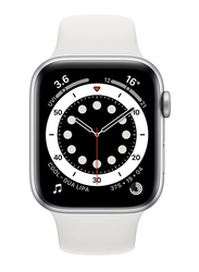 Apple Watch Series 6 - 44mm Smartwatch, GPS, Silver Aluminum Case with White Sport Band