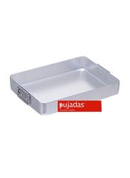 Pujadas 60cm Aluminium Rectangular Roasting Pan with Falling Handles, 1 Ltr, 60 x 40 x 9cm, Silver